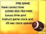 pre game9