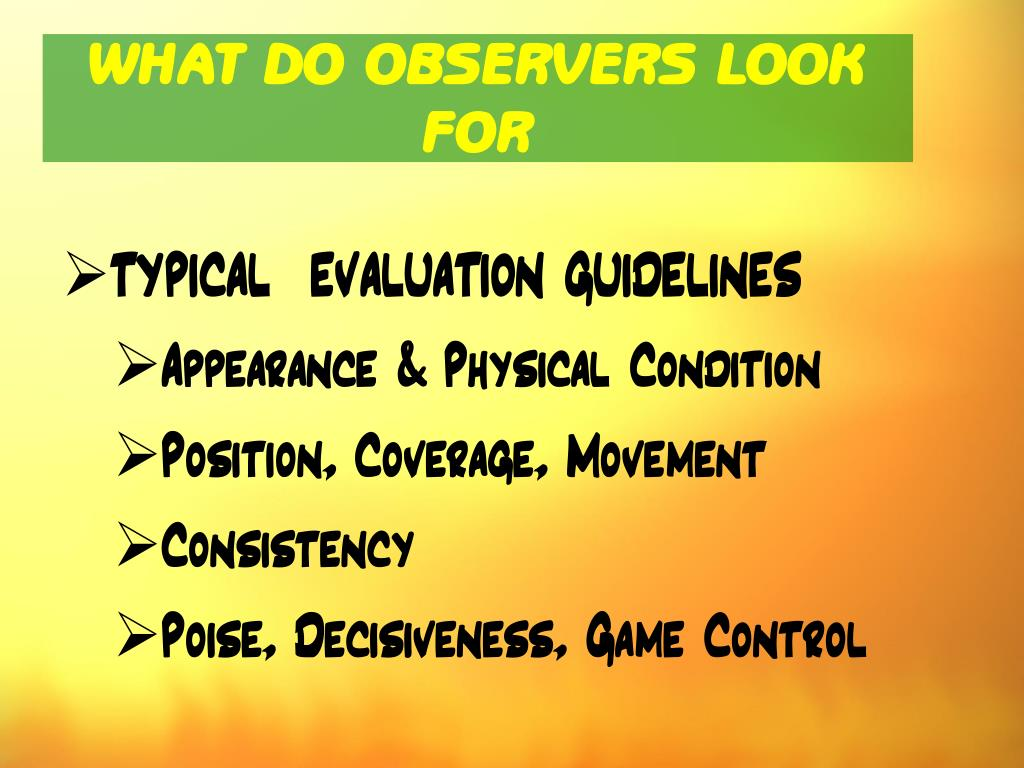 WHAT DO OBSERVERS LOOK FOR