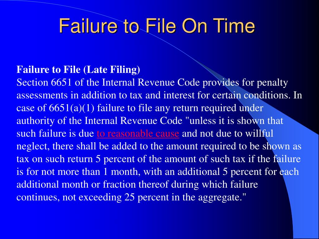 Failure to File On Time