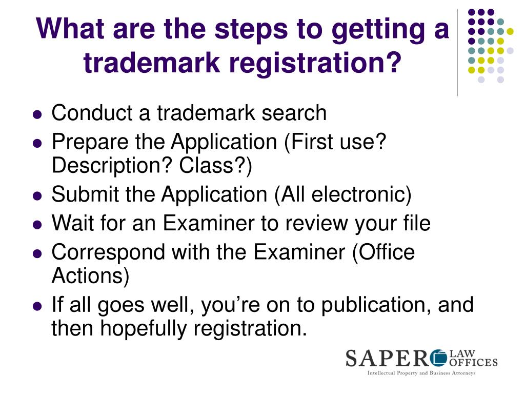 What are the steps to getting a trademark registration?