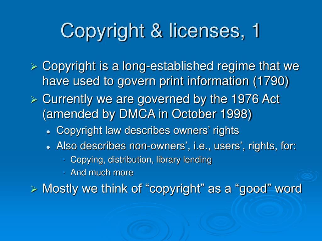 Copyright & licenses, 1