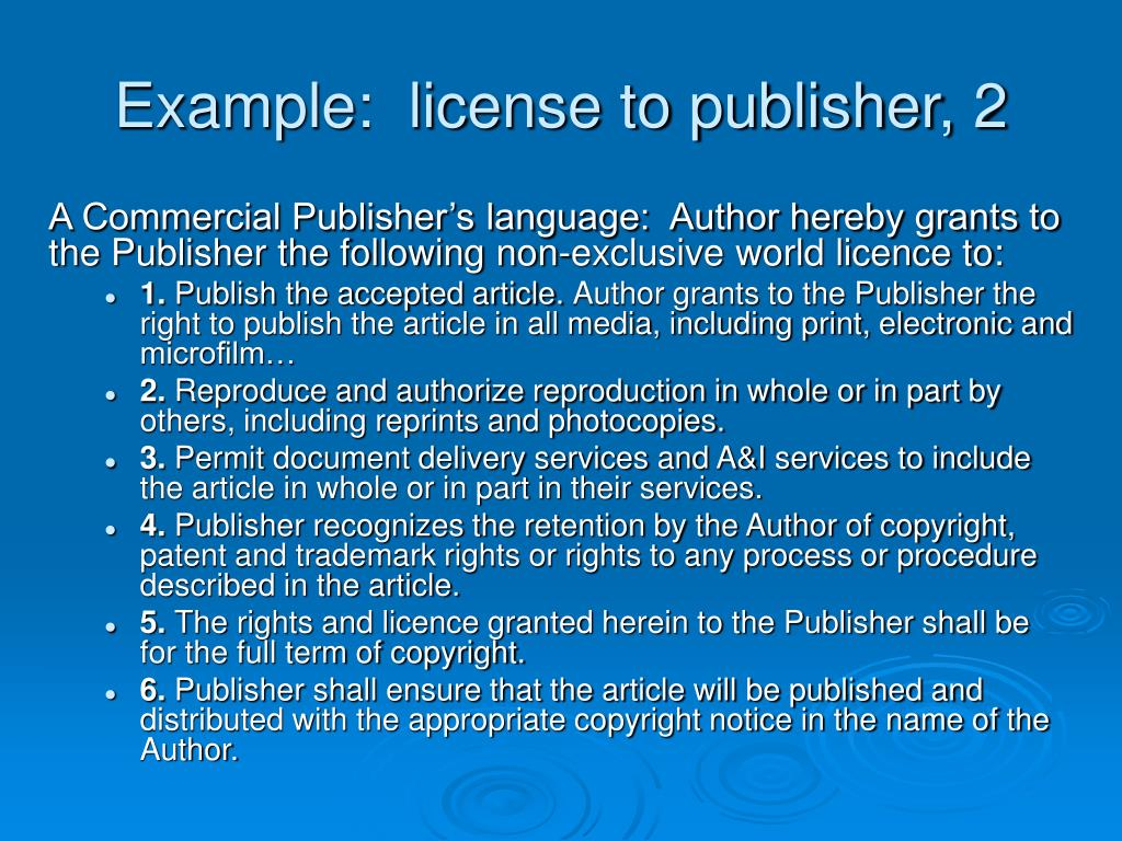 Example:  license to publisher, 2