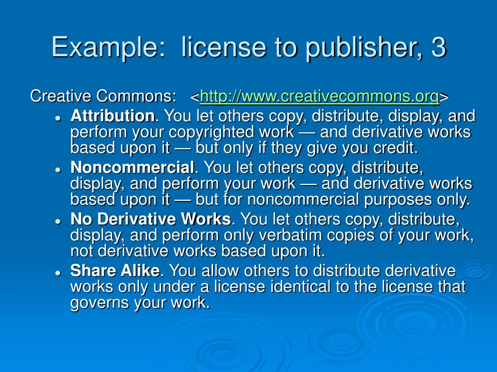 Example:  license to publisher, 3