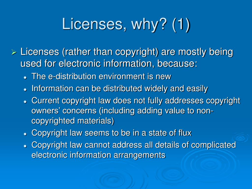 Licenses, why? (1)