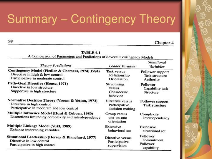 Summary – Contingency Theory
