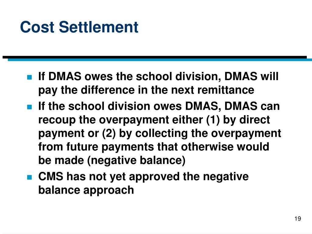 Cost Settlement