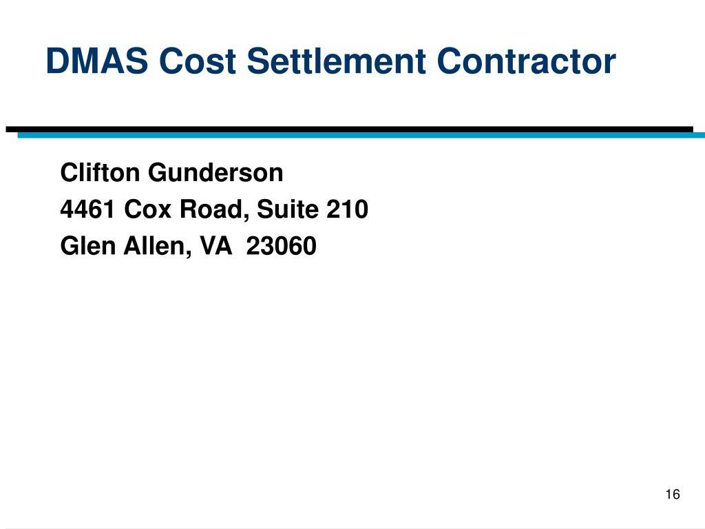 DMAS Cost Settlement Contractor