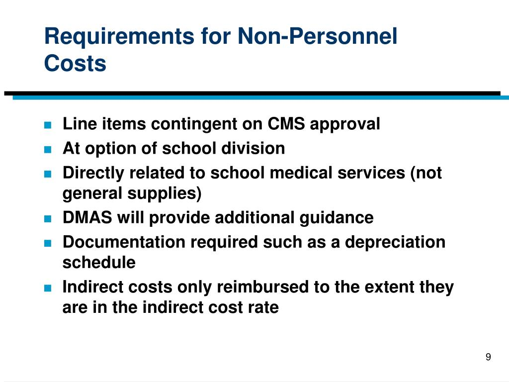 Requirements for Non-Personnel Costs