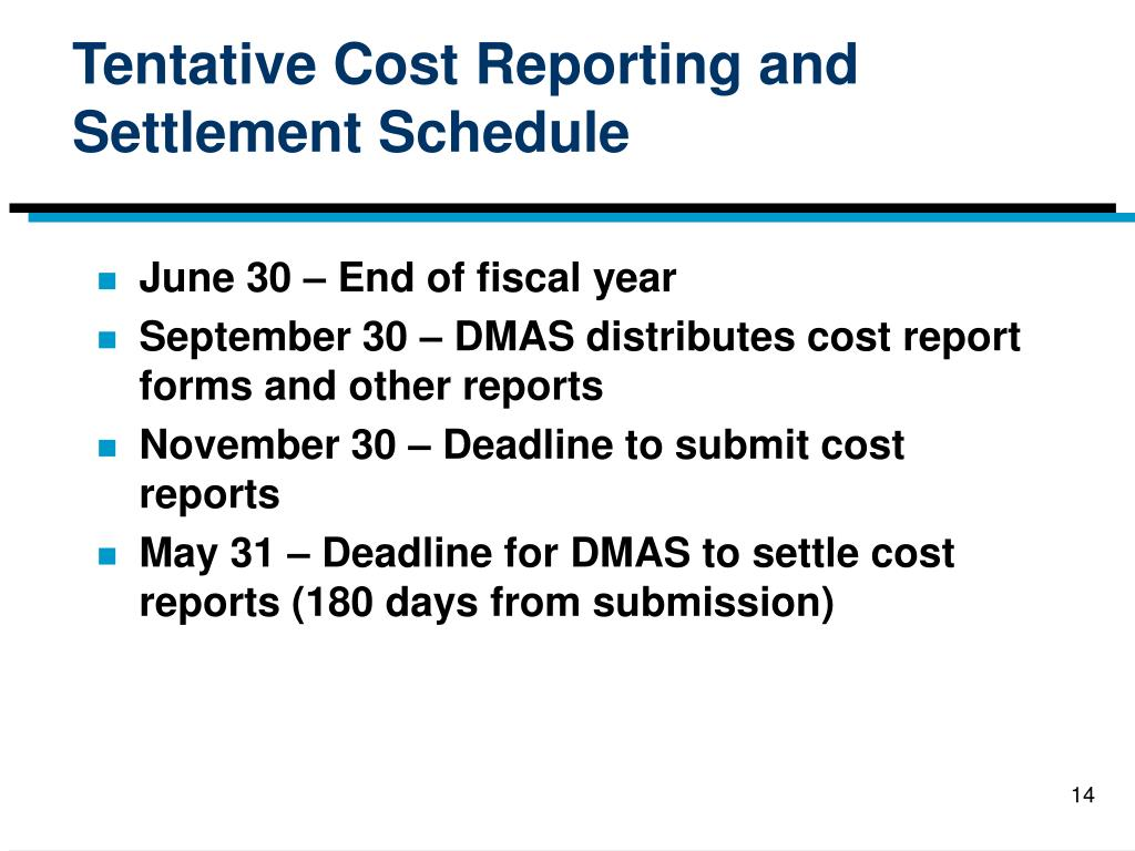 Tentative Cost Reporting and Settlement Schedule