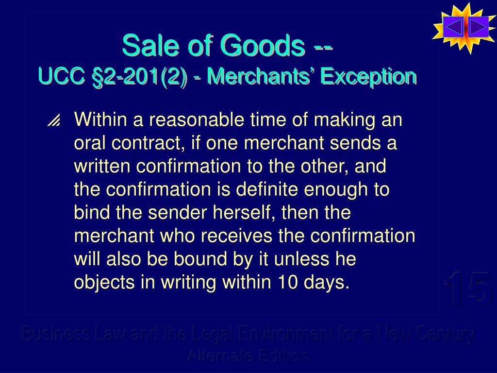 Sale of Goods --