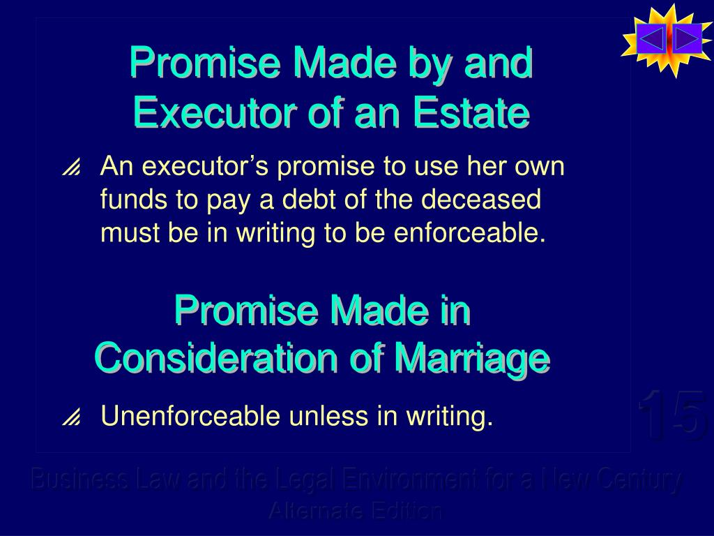 Promise Made by and Executor of an Estate