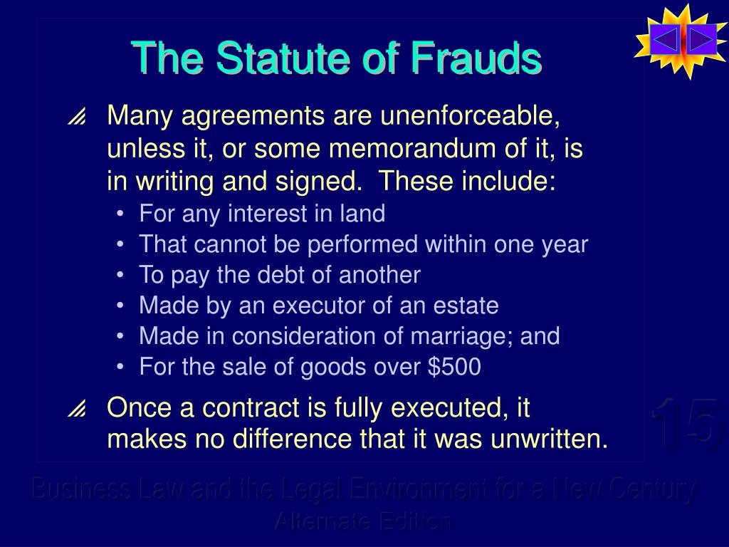 The Statute of Frauds