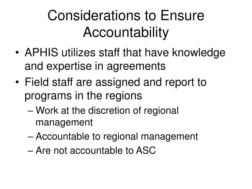 Considerations to Ensure Accountability