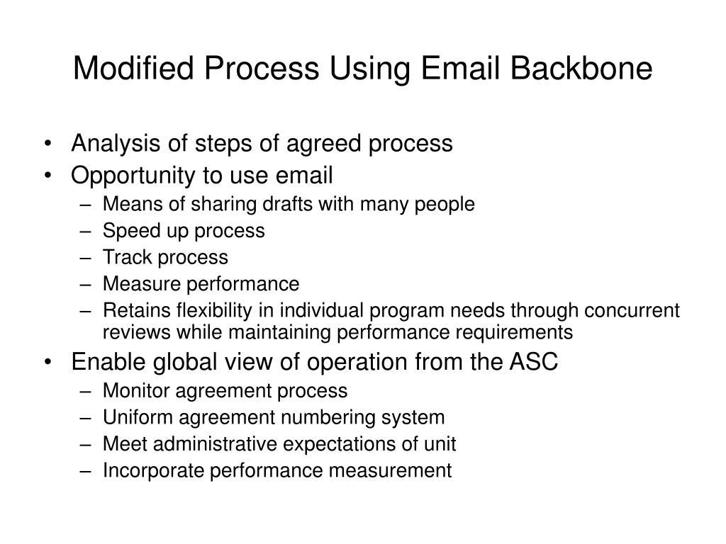 Modified Process Using Email Backbone