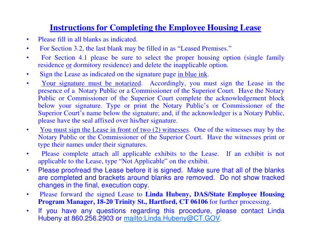 Instructions for Completing the Employee Housing Lease