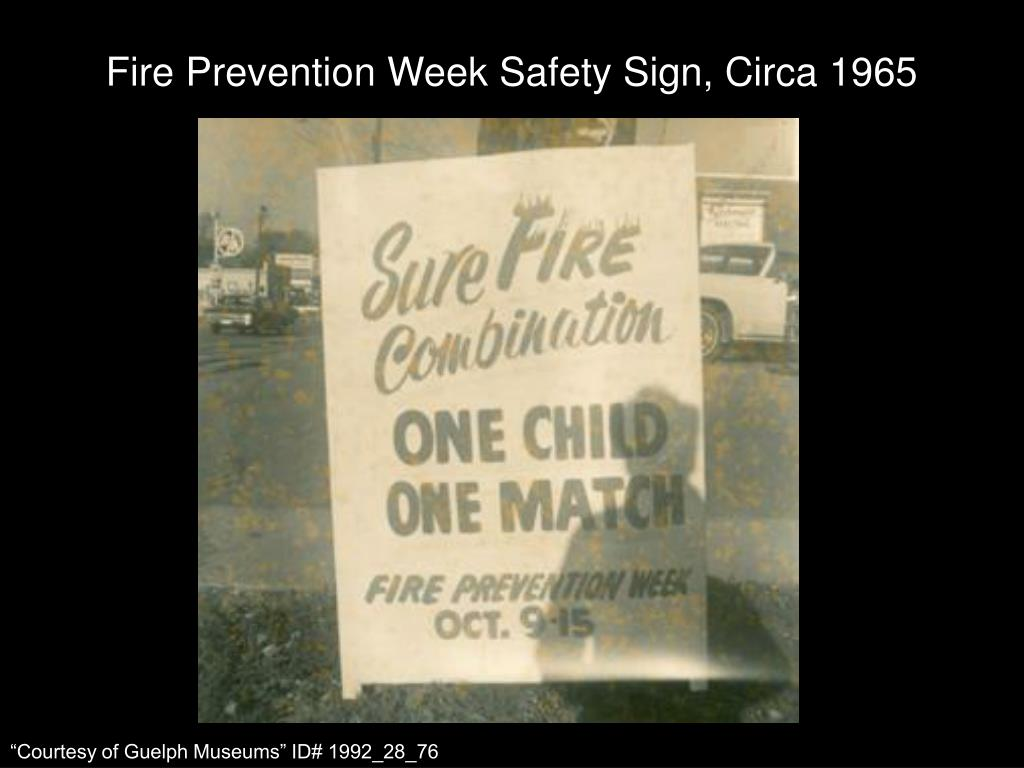 Fire Prevention Week Safety Sign, Circa 1965
