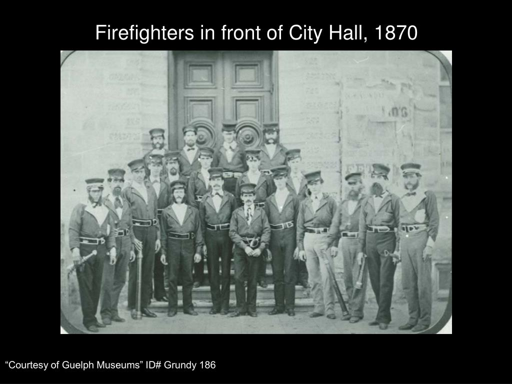 Firefighters in front of City Hall, 1870