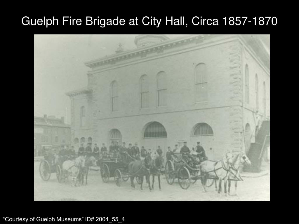 Guelph Fire Brigade at City Hall, Circa 1857-1870