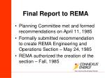 final report to rema
