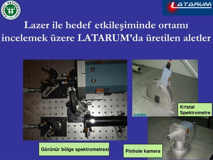 Lazer ile hedef etkileşiminde ortamı incelemek üzere LATARUM'da üretilen aletler