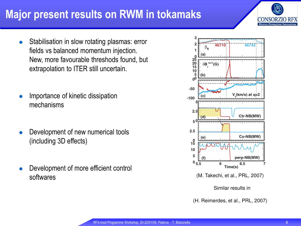 Major present results on RWM in tokamaks