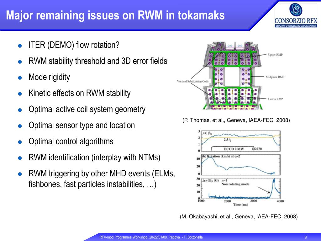 Major remaining issues on RWM in tokamaks