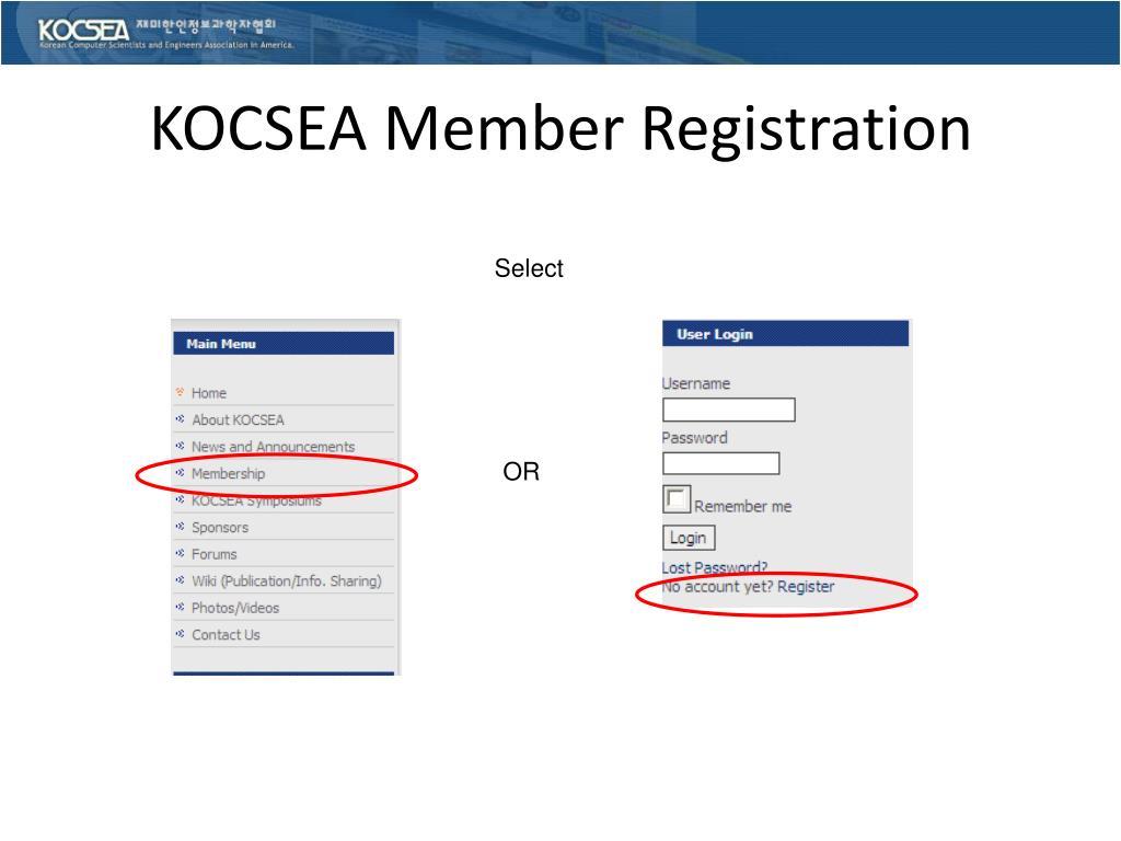KOCSEA Member Registration