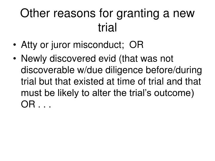 Other reasons for granting a new trial