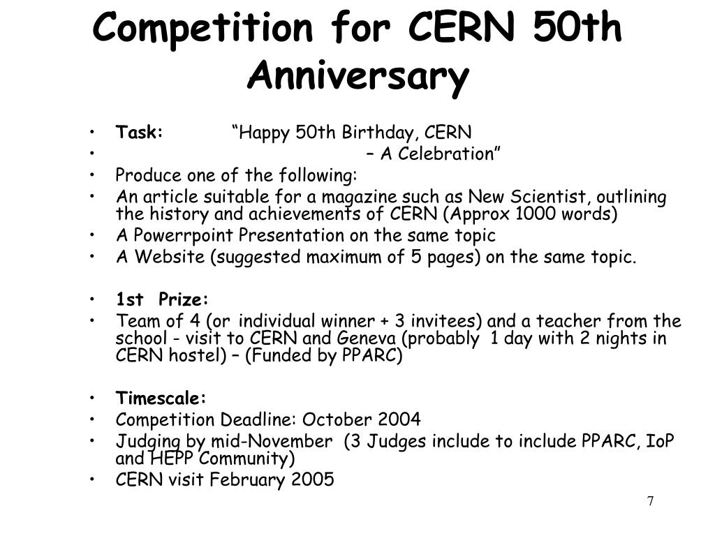 Competition for CERN 50th Anniversary
