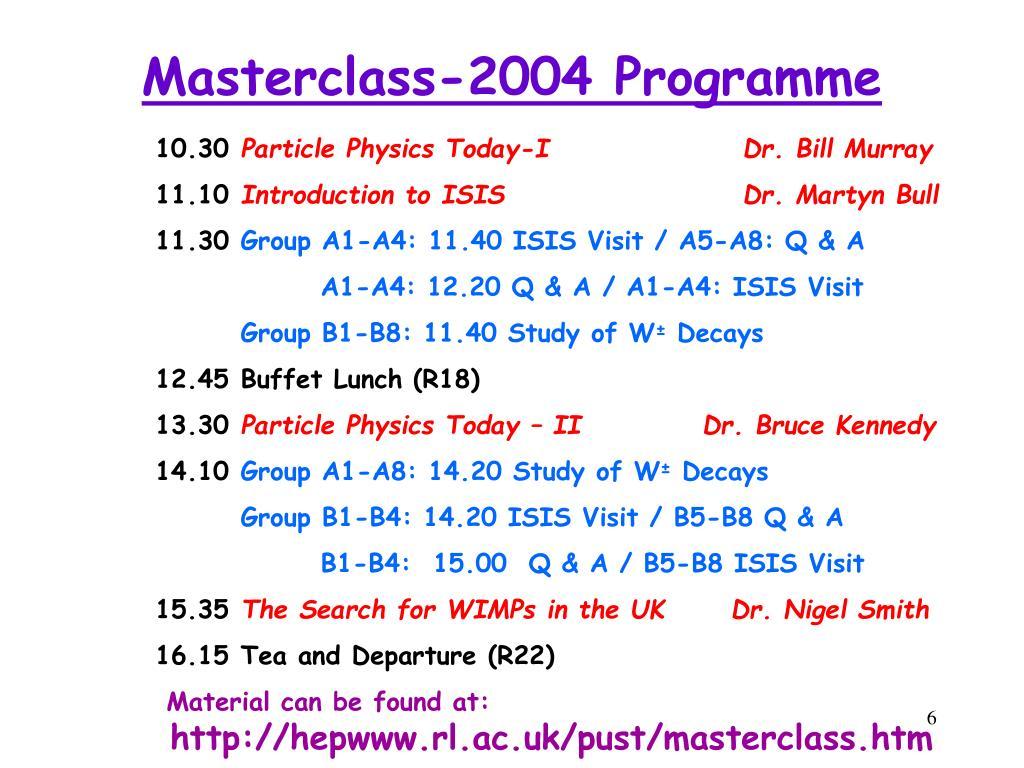 Masterclass-2004 Programme