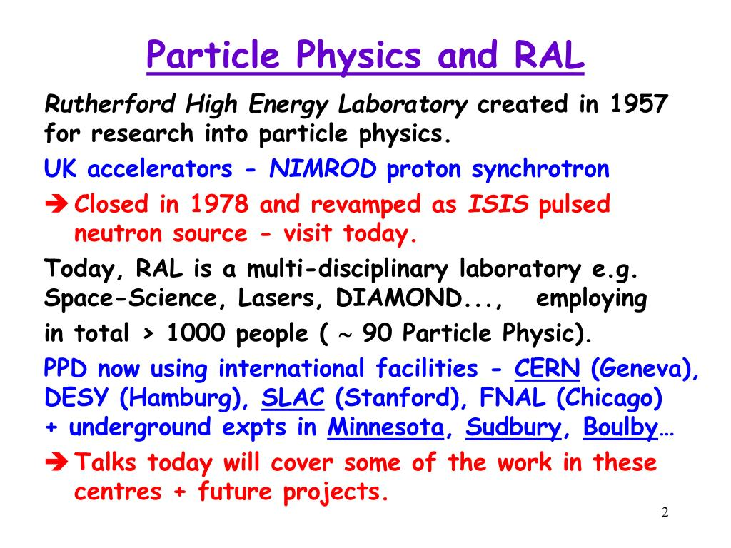 Particle Physics and RAL