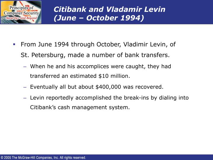 Citibank and Vladamir Levin