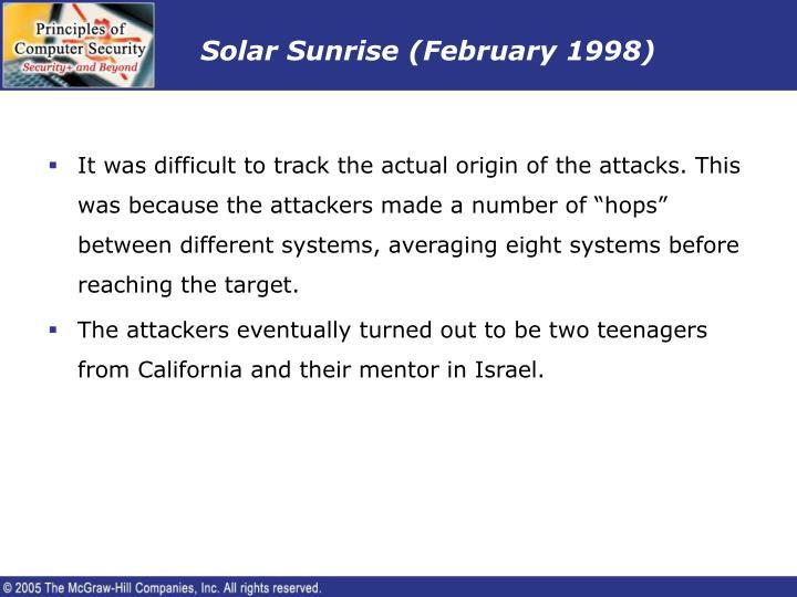 Solar Sunrise (February 1998)