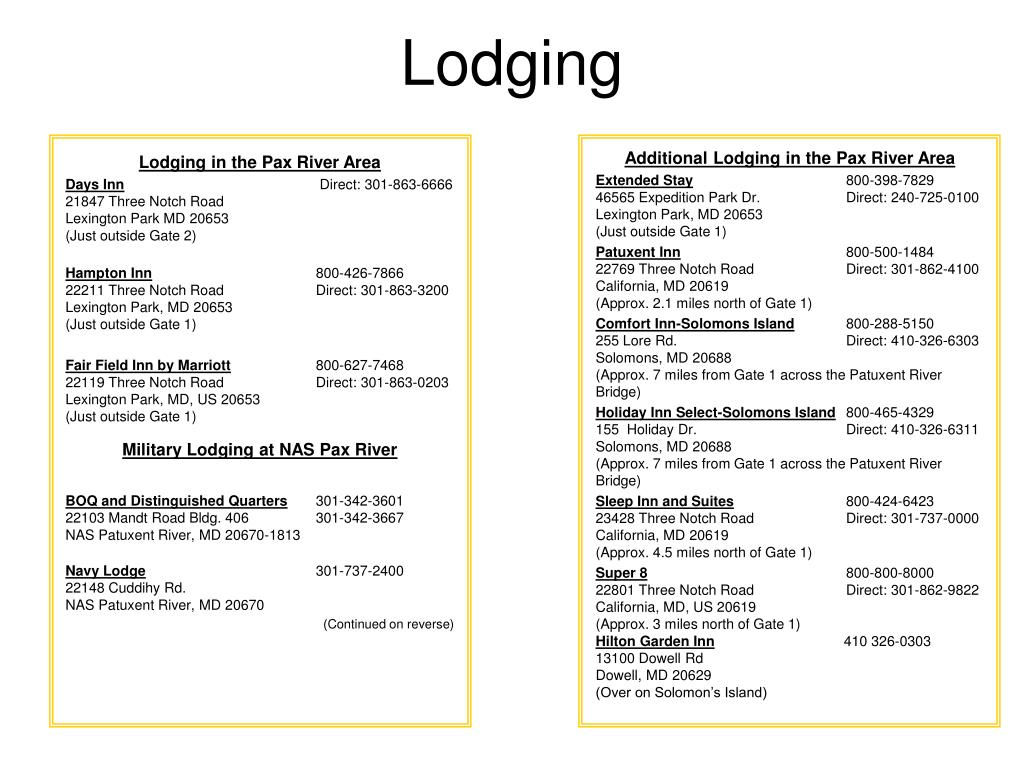 Additional Lodging in the Pax River Area