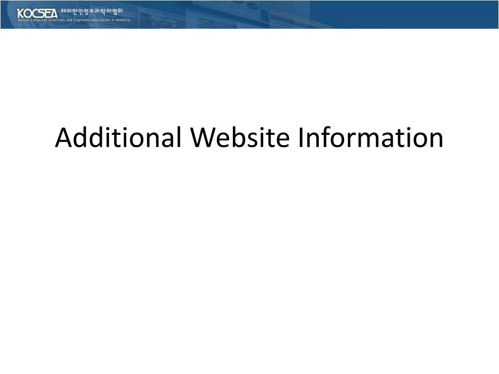 Additional Website Information