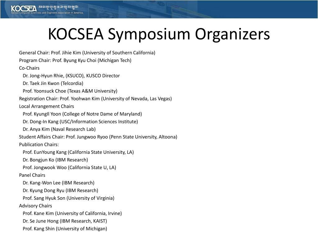 KOCSEA Symposium Organizers
