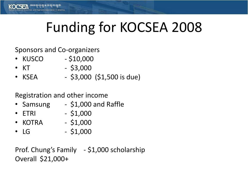 Funding for KOCSEA 2008