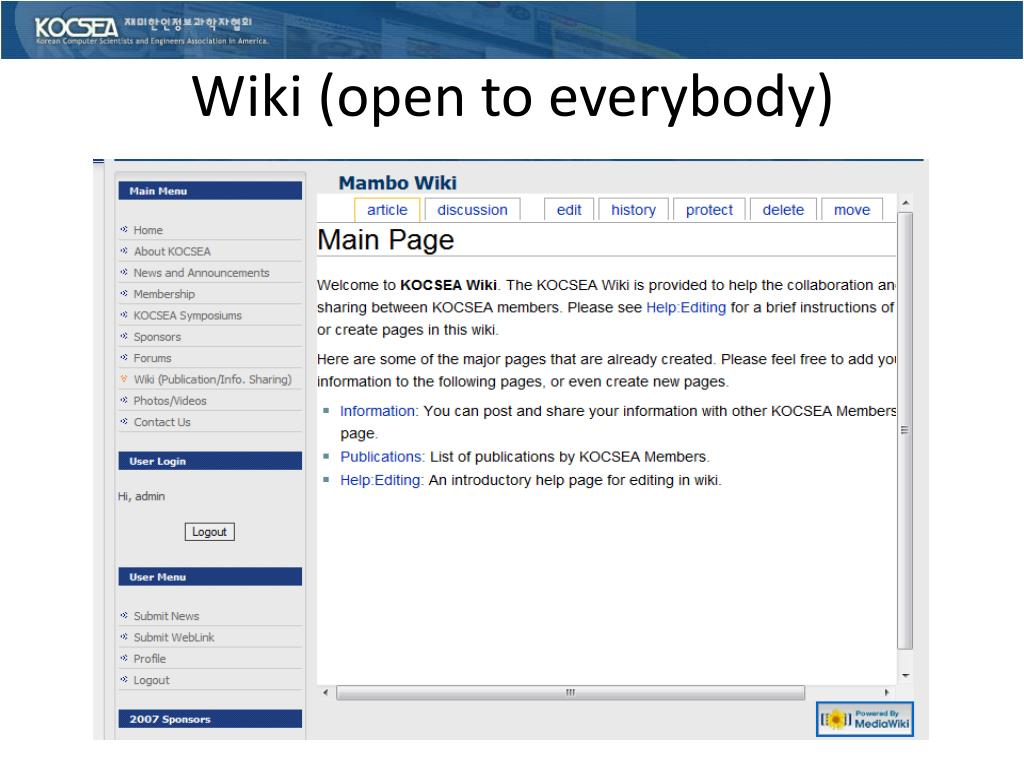 Wiki (open to everybody)