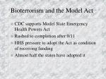 bioterrorism and the model act