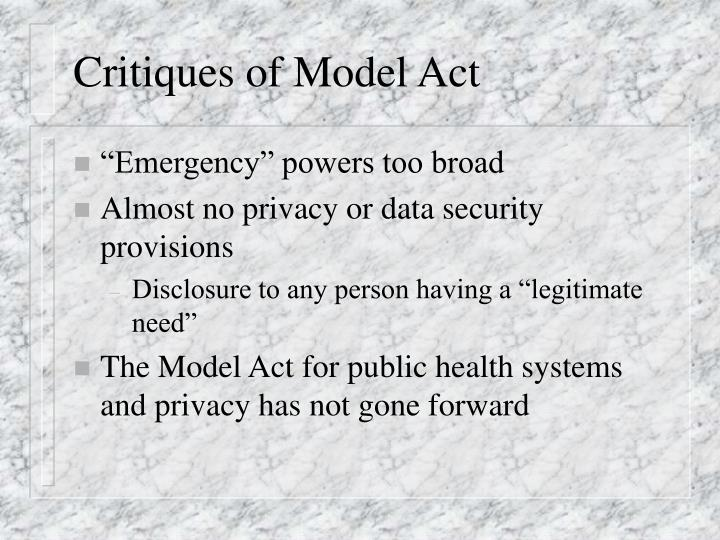 Critiques of Model Act