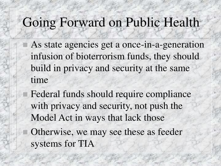 Going Forward on Public Health