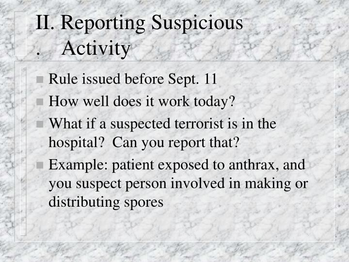II. Reporting Suspicious                 .    Activity