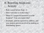 ii reporting suspicious activity