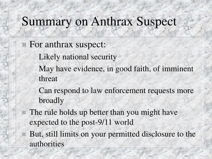 Summary on Anthrax Suspect