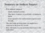 summary on anthrax suspect