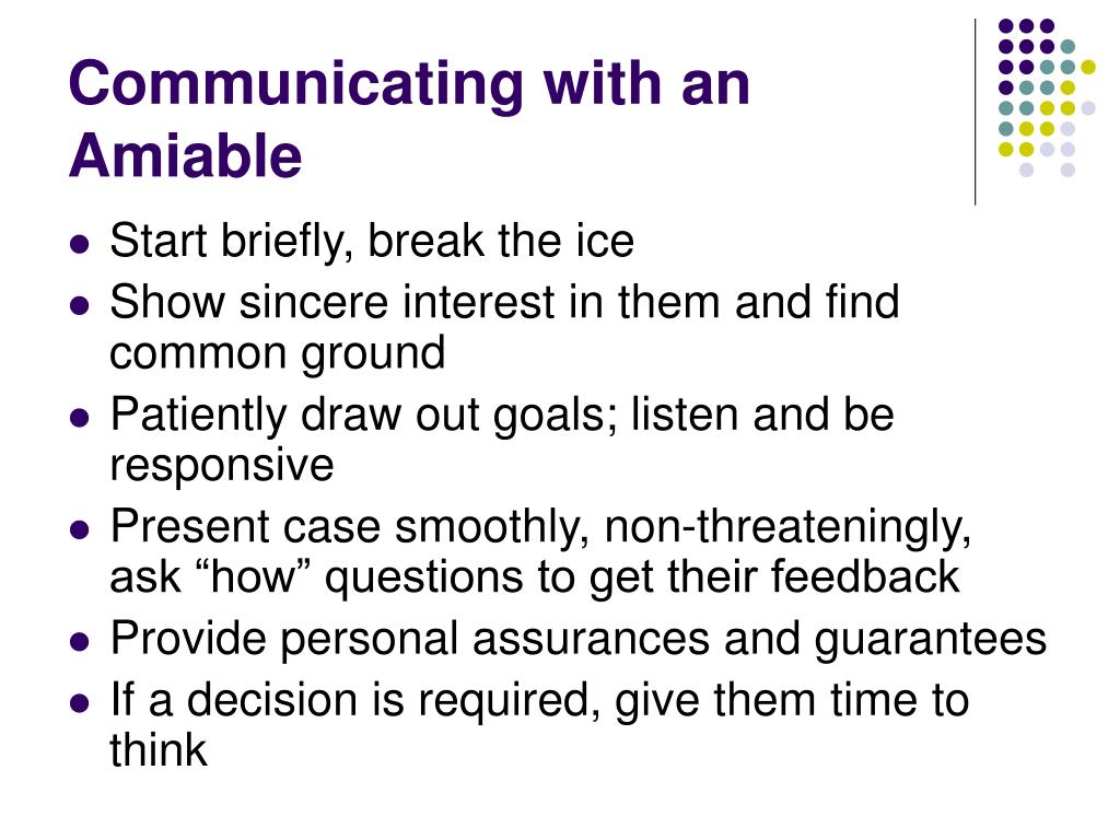 Communicating with an Amiable