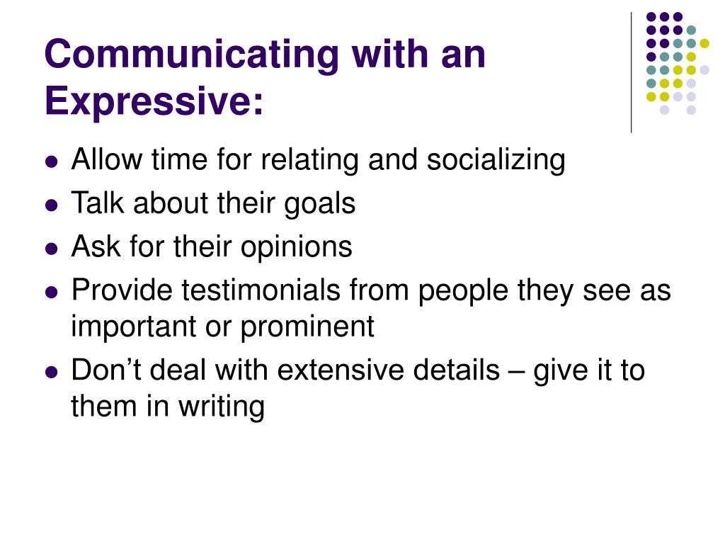Communicating with an Expressive: