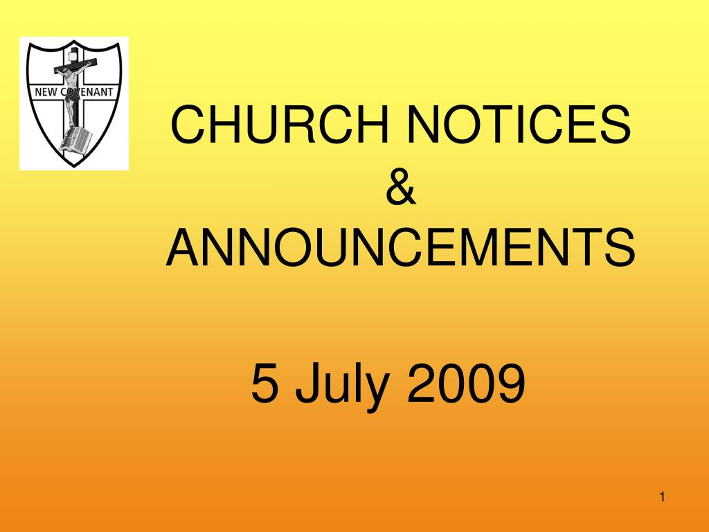 CHURCH NOTICES