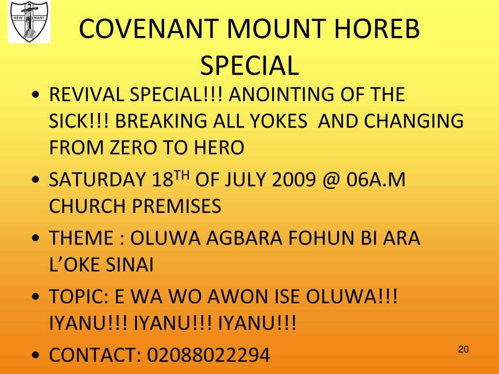 COVENANT MOUNT HOREB SPECIAL