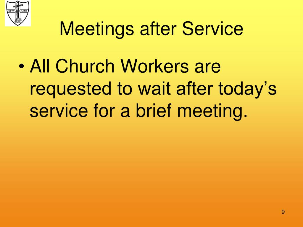 Meetings after Service